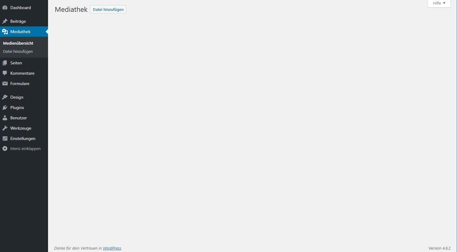 WordPress-Mediathek bleibt leer und zeigt keine Dateien an.
